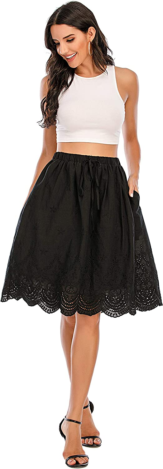 Love Welove Fashion Women's Summer Cotton A-line Flared Embroidered Knee Length with Lining midi Skirt