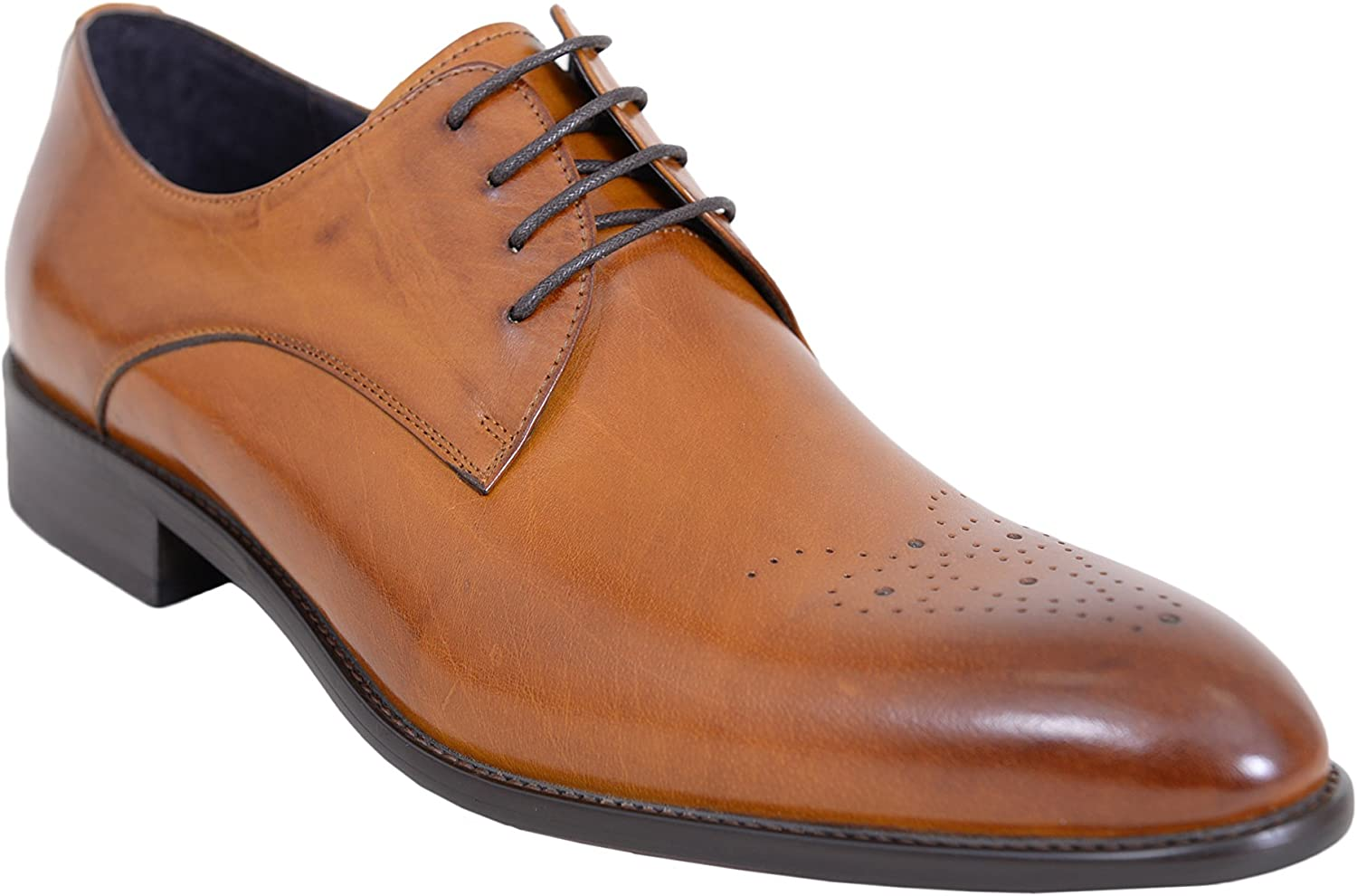 Carrucci Cognac Brown Oxford Leather Dress shoes with Broguing On Toe