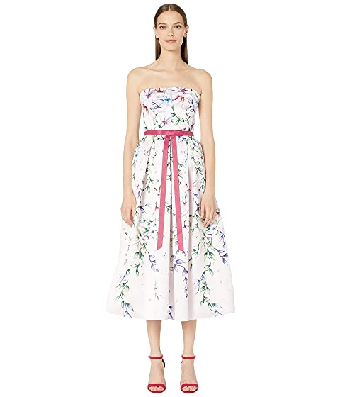 Marchesa Notte Strapless Printed Mikado Tea-Length Gown