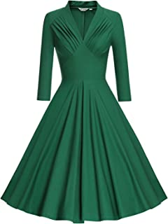 Women's V Neck Elegant 3/4 Sleeve Vintage Bridesmaid Party Dress