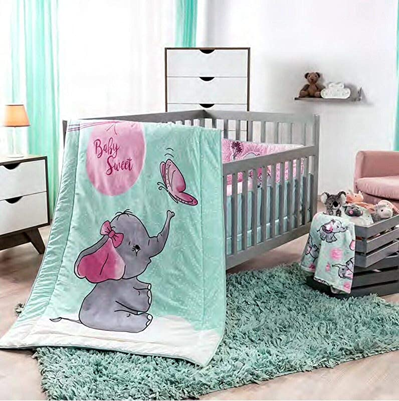 DreamPartyWorld Little Elephant Crib Set Baby Gift Shower Bedding Dumbo Nursery Pink Blue Polka 100 Cotton