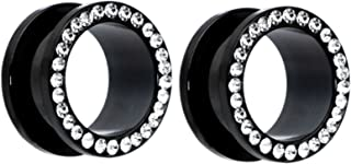 Pair of Black Titanium Clear Gem Gauges Tunnels Steel Ear Plugs 8g - Inch