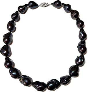 12-15mm Black Baroque Freshwater Cultured Pearl Necklace for Women AA+ Quality Sterling Silver Clasp - PremiumPearl