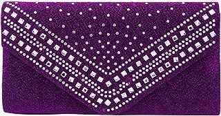 Premium Crystal Metallic Glitter Flap Clutch Evening Bag Handbag - Diff Colors