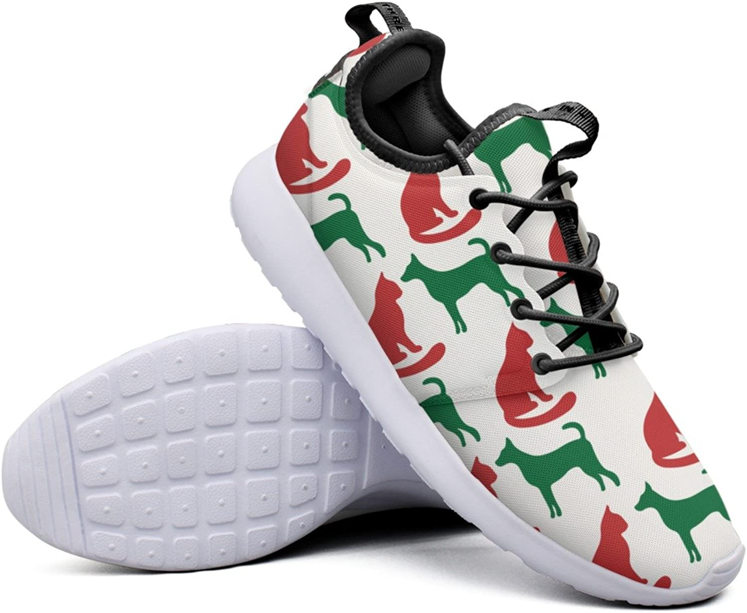 Christmas Cat And Dog Silhouettes Women's Classic Sneakers Lightweight Mesh Sports shoes