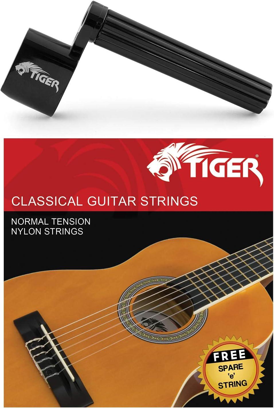 Tiger - Cuerdas para guitarra clásica y bobinador de cuerdas