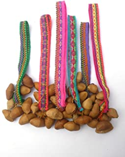 Six Colorful ceremonial Anklets with brazil nuts - Nice cheerful rattling anklet with Peruvian manta 6 Pack*003566*