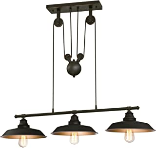 Westinghouse Lighting 6332500 Iron Hill Three-Light Indoor Island Pulley Pendant, Oil Rubbed Finish with Highlights and Metallic Bronze Interior, 3