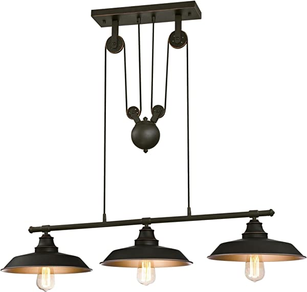 Westinghouse Lighting 6332500 Iron Hill Three Light Indoor Island Pulley Pendant Oil Rubbed Finish With Highlights And Metallic Bronze Interior 3