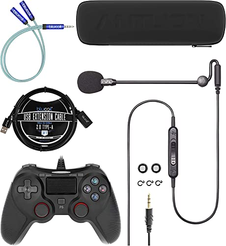 lowest Antlion Audio ModMic Uni Attachable Noise-Cancelling Microphone with Mute Switch Bundle with Blucoil USB Wired Gaming Controller for Windows, Mac & PS4, Y Splitter Cable, and wholesale 3' USB outlet online sale Extension Cable outlet sale