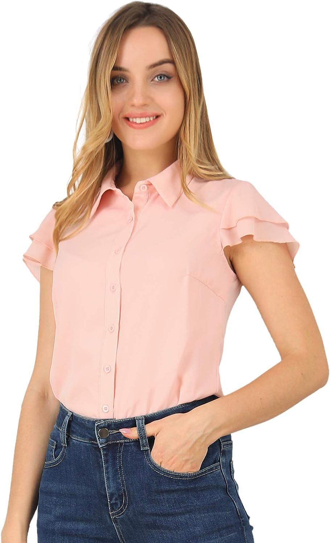 Allegra K Women's Chiffon Blouse Layered Cap Sleeve Work Office Button Down Collar Shirt
