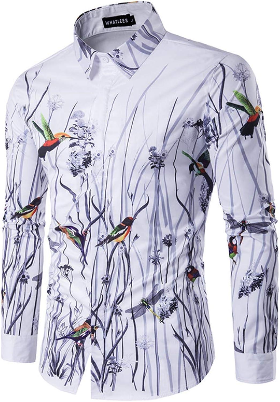 Men's Dress Shirt Slim Fit Individual Flower and Bird 3D Printed Casual Long Sleeve Shirts,XL