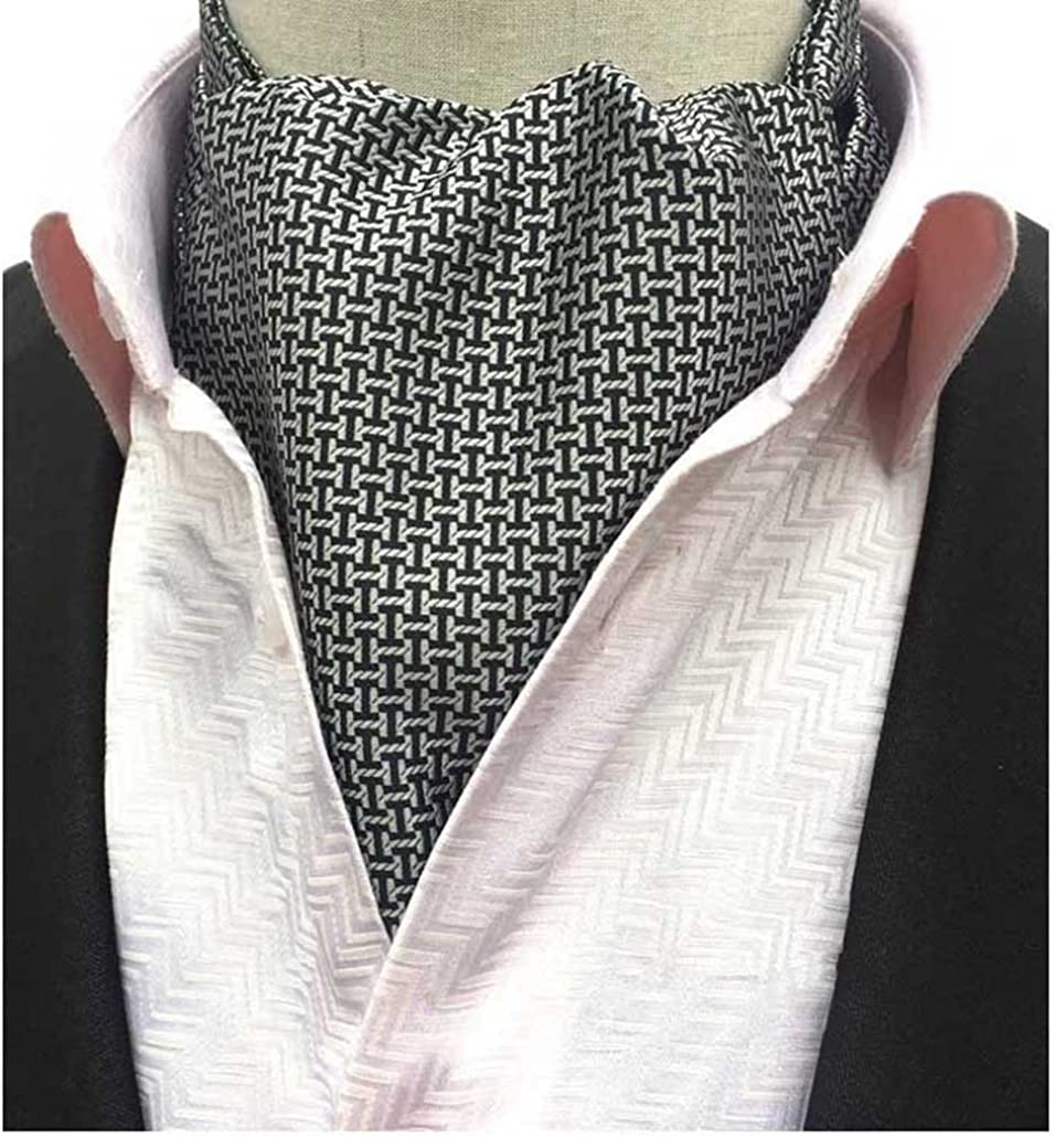 L04BABY Men's Black White Plaid Houndstooth Jacquard Woven Suit Cravat Tie Ascot