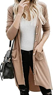 MEROKEETY Women's Long Sleeve Button Down High Low Hem Solid Color Knit Cardigans with Pockets