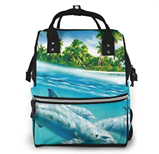 Underwater Sea Fish Print Diaper Bag Backpack,Multi-Function Maternity Nappy Bags For Travel,Large Capacity,Waterproof,Dur...