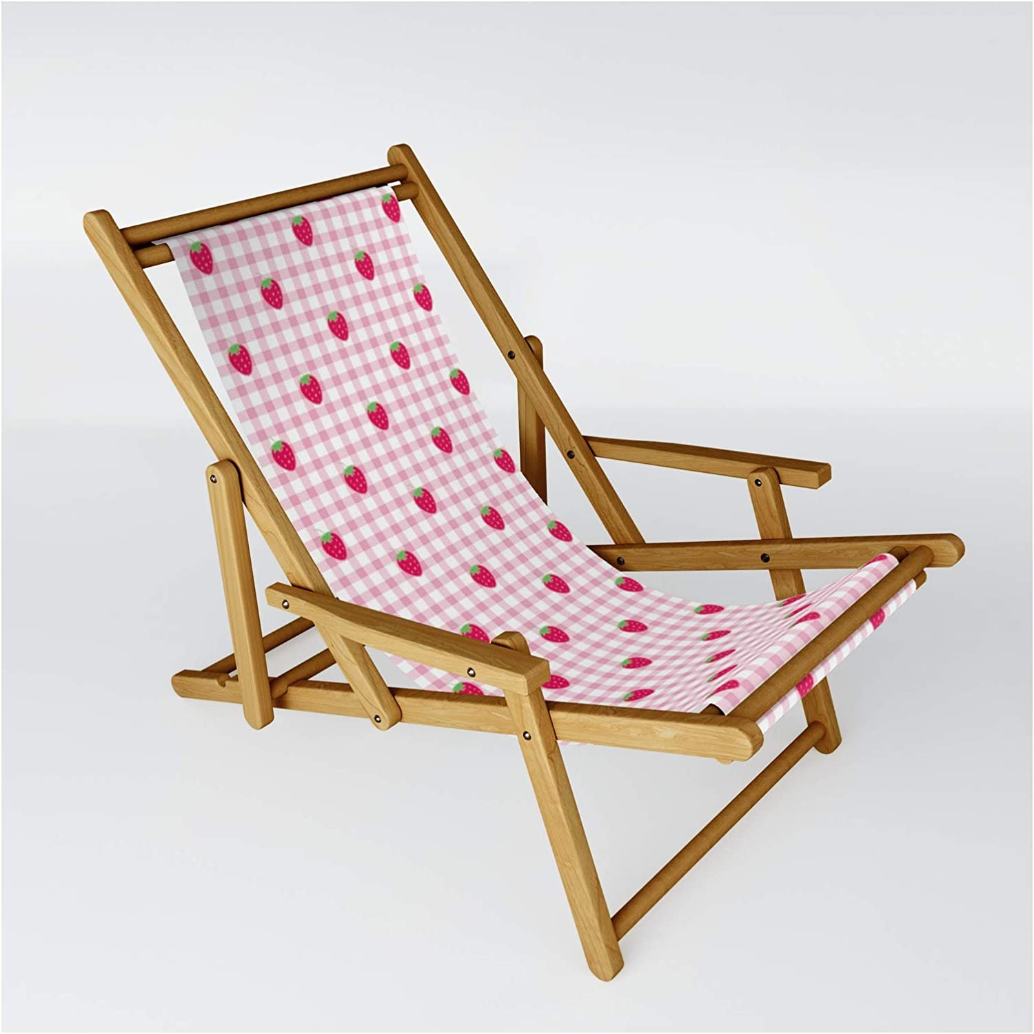 Society6 Strawberry Picnic Pattern Pink Usha5o Chair Max 41% OFF on Super sale Sling by