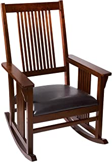 Giftmark Mission Style Rocking Chair with Upholstered Seat, Style A, Cherry