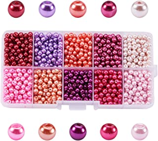 Pandahall 1 Box (About 1500pcs) 10 Color Pink Theme Mixed Style Glass Pearl Round Beads Assortment Lot for Jewelry Making, 4mm, Hole: 1mm