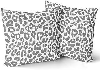Granbey Grey Leopard Print Pillowcase 2pcs Snow Cheetah Animal Print Pillow Covers 18x18 Inch Cheetah Decorative Throw Pil...