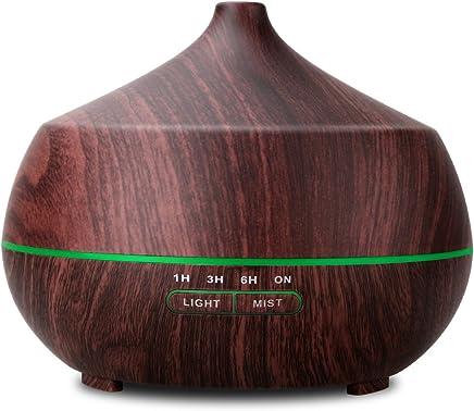 Tenswallアロマディフューザー 超音波式 卓上加湿器 ムードランプ 空焚き防止機能搭載 時間設定 部屋 会社 ヨガなど各場所用 400ml 木目調 ダークブラウン