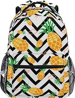 ZOEO Girls Pineapple Backpacks Chevron Black and White 3th 4th 5th Grade School Bookbags Travel Laptop Daypack Bag Purse for Kids Teens