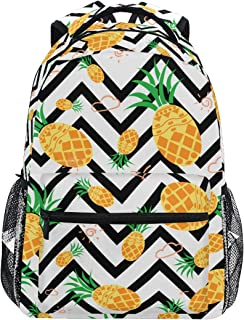 Girls Pineapple Backpacks Chevron Black and White 3th 4th 5th Grade School Bookbags Travel Laptop Daypack Bag Purse for Kids Teens