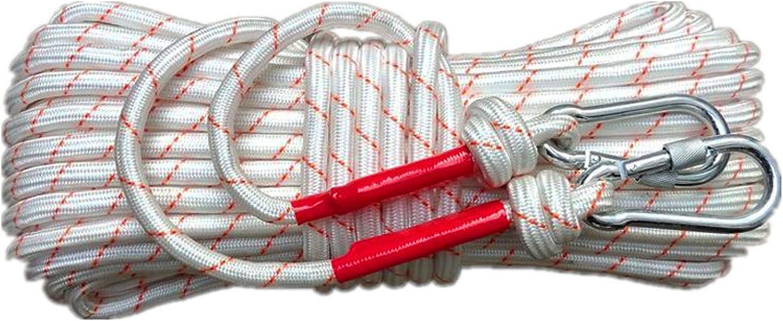 Corde Auxiliaire d/'Escalade Longueur 20m*/Ø1.2cm*2.5mm Nylon Corde Noyau en Fil dacier avec 2 Mousquetons