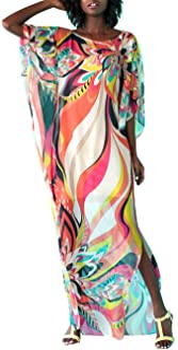 Bsubseach Women Chiffon Swimwear Turkish Kaftan Swimsuit Cover Up Caftan Beach Long Dress