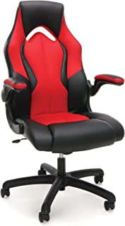 Essentials Racing Style Leather Gaming Chair - Ergonomic Swivel Computer, Office or Gaming Chair, Red