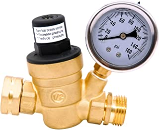 AccuMeter 3/4 Lead-Free Brass Water Pressure Regulator with Gauge Adjustable RV Pressure Reducer