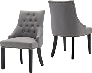 LSSBOUGHT Set of 2 Fabric Dining Chairs Leisure Padded Chairs with Black Solid Wooden Legs,Nailed Trim,Gray