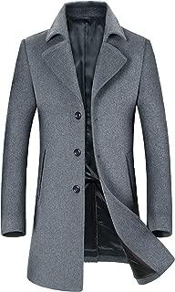 Men's Wool Coats Single Breasted Trench Coat Winter Jacket KEMCT