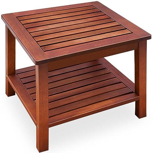 Deuba Table d'appoint vorgeölt Bois d'acacia Table de Jardin Table Basse Table en Bois Table en Bois 45x 45x 45cm