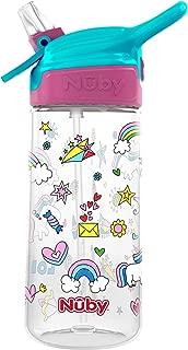 Nuby Push Button Flip-it Soft Spout Tritan Water Bottle, Unicorns, 18 Oz