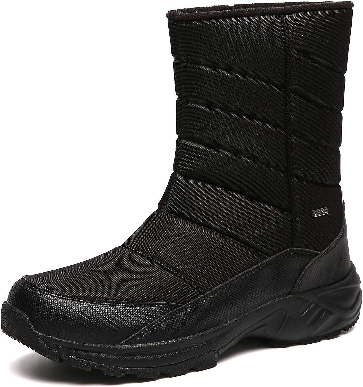 SILENTCARE Mens Winter Mid-Calf Snow Sl Waterproof Miami Mall Boot Fur Warm Attention brand