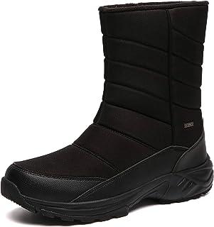 Mens Winter Mid-Calf Snow Boot Fur Warm Waterproof Slip...