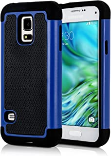 kwmobile Full Armor Case for Samsung Galaxy S5 Mini G800 - Heavy Duty Shockproof Protective Hybrid Case Cover - Blue/Black