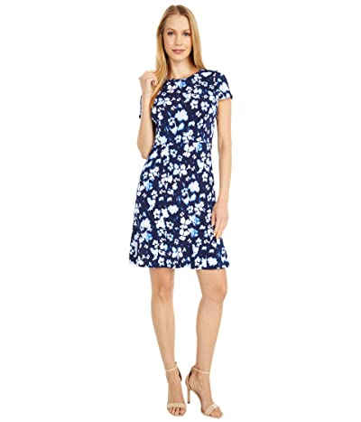MICHAEL Michael Kors Poppy Flounce Seamed Dress (True Navy) Women