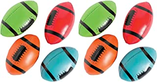 Kicko Foam Footballs - Pack of 8-4 Inches Assorted Colors Soft Squeeze Sports Stress Balls - Relaxation and Anxiety Relief - for Kids and Adults - Party Favors, Fun, Toy, Prize