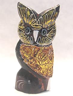 Wooden Owl Hand Carved and Hand Painted Wood Bali Home Decor Sculpture #2945