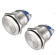 (Pack of 2) 19mm Momentary Push Button Switch Waterproof Stainless Steel Metal Flat Top 12V 24V 36 DC 110V 250V AC 5A 1NO SPST Screw Terminal API-ELE [3 year warranty]