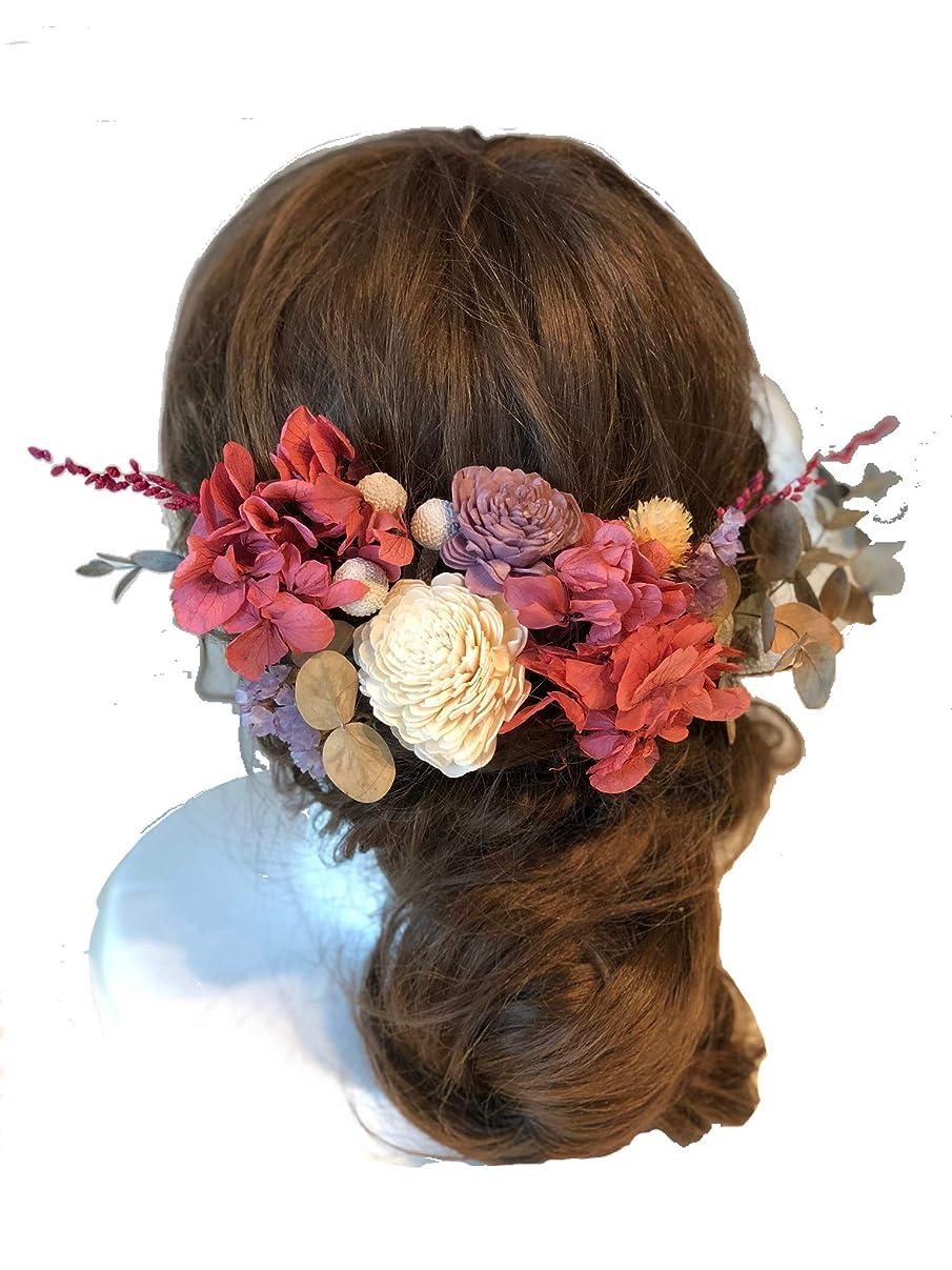 公爵驚いた押すbox入り本物のお花の髪飾りwedding*成人式*卒業式 ブリザーブドフラワー ドライフラワーヘッドドレスセット