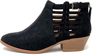 MVE Shoes Women's Triangle Cutout Side Chunky Stacked Heel Ankle Bootie