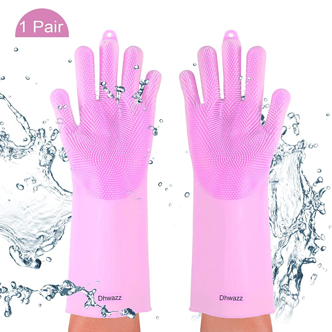 Dhwazz Silicone Washing Gloves, Magic Reusable Scrubber Dish Brush Heat Resistant Kitchen Tool for Cleaning, Pet Hair Care, Dish Washing, Washing The Car (Pink)