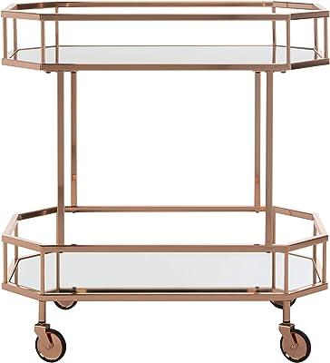 Safavieh Silva Bar Cart, Rose Gold/Mirror