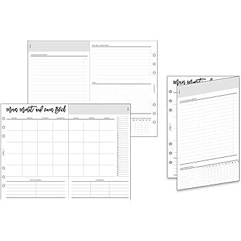 DIN A5 Kalendereinlagen UNDATIERT 1T1S f/ür Organizer//Ringplaner 120 g Premium Papier 50 Blatt 6-fach Lochung