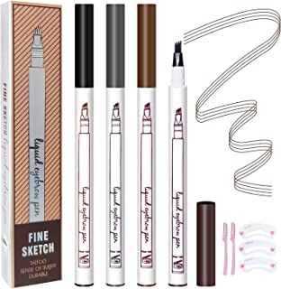 4 Pack Eyebrow Tattoo Pen, Microblading Eyebrow Pencil with a Micro-Fork Tip Applicator, Waterproof Brow Pencil Creates Fuller Natural Looking Brows Effortlessly Stays on All Day (4 Different Color)