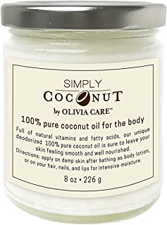 OLIVIA CARE Simply Coconut Oil, 100% all Natural Oils -Cold Pressed Unrefined and Pure extra Virgin Coconut Oil! Great for Body, Hails, lips (lip scrub) and face. Better than body lotion!