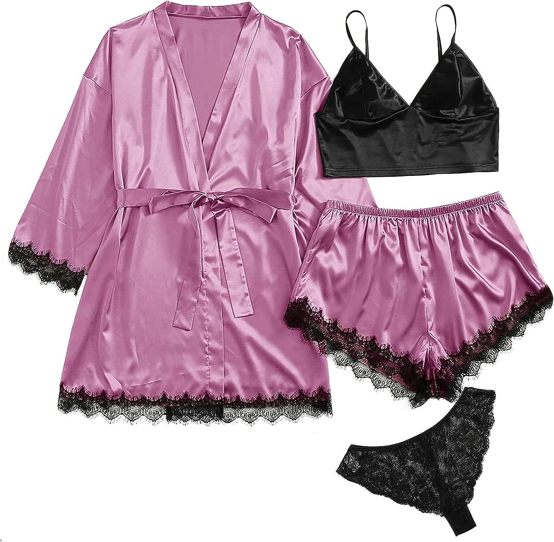 4PC Womens Silky Satin Robes Set, Women Kimono Robe Nightdress Cami Top and Shorts Bathrobe Sleepwear Pajamas Set