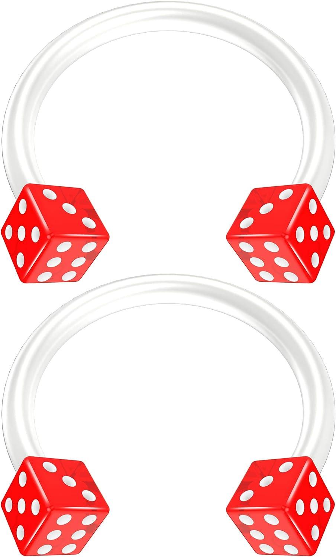 2pc 16g Acrylic Dice Flexible Bioflex Circular Barbell Horseshoe Septum Ring Bioplast Piercing 10mm